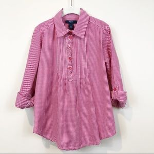 GapKids Girl's M Red Check Roll Tab Baby Doll Top